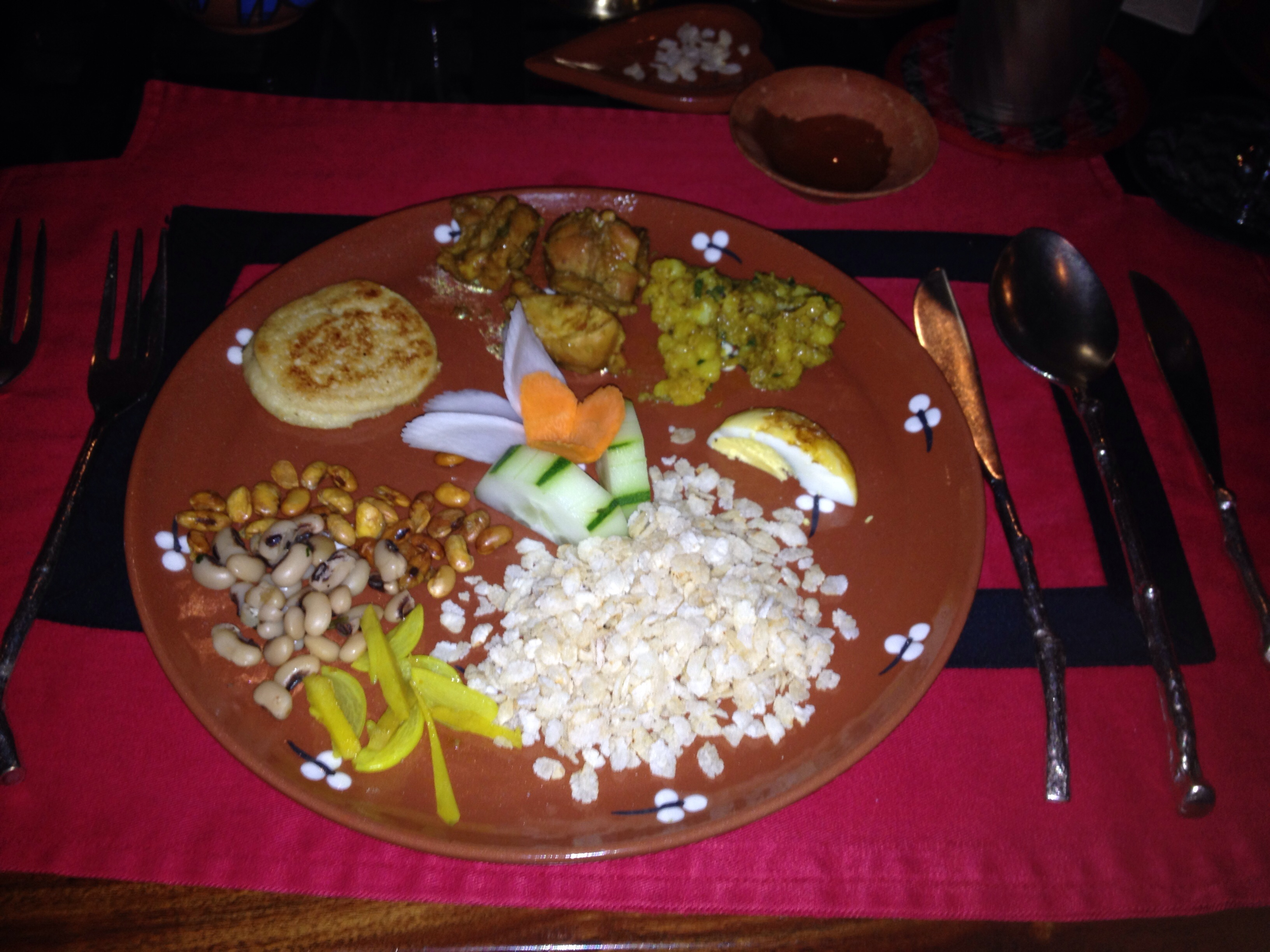 Nepalese Dinner First Course: Assortment of Hors D'Oeuvres served during religious ceremonies