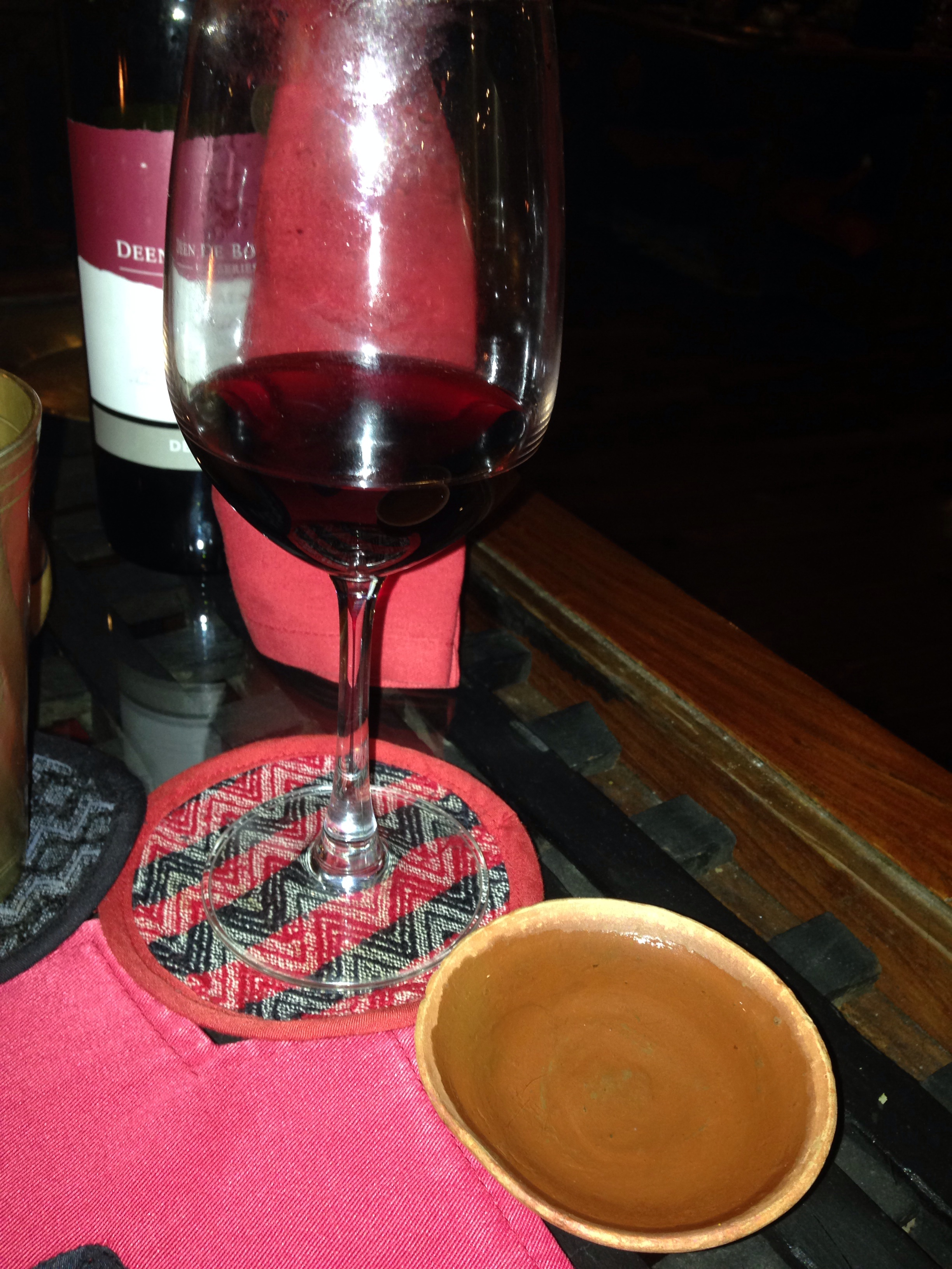A very fortified Rice Wine is a traditional offering with a Nepalese dinner, and we ordered a spicy Shiraz as well