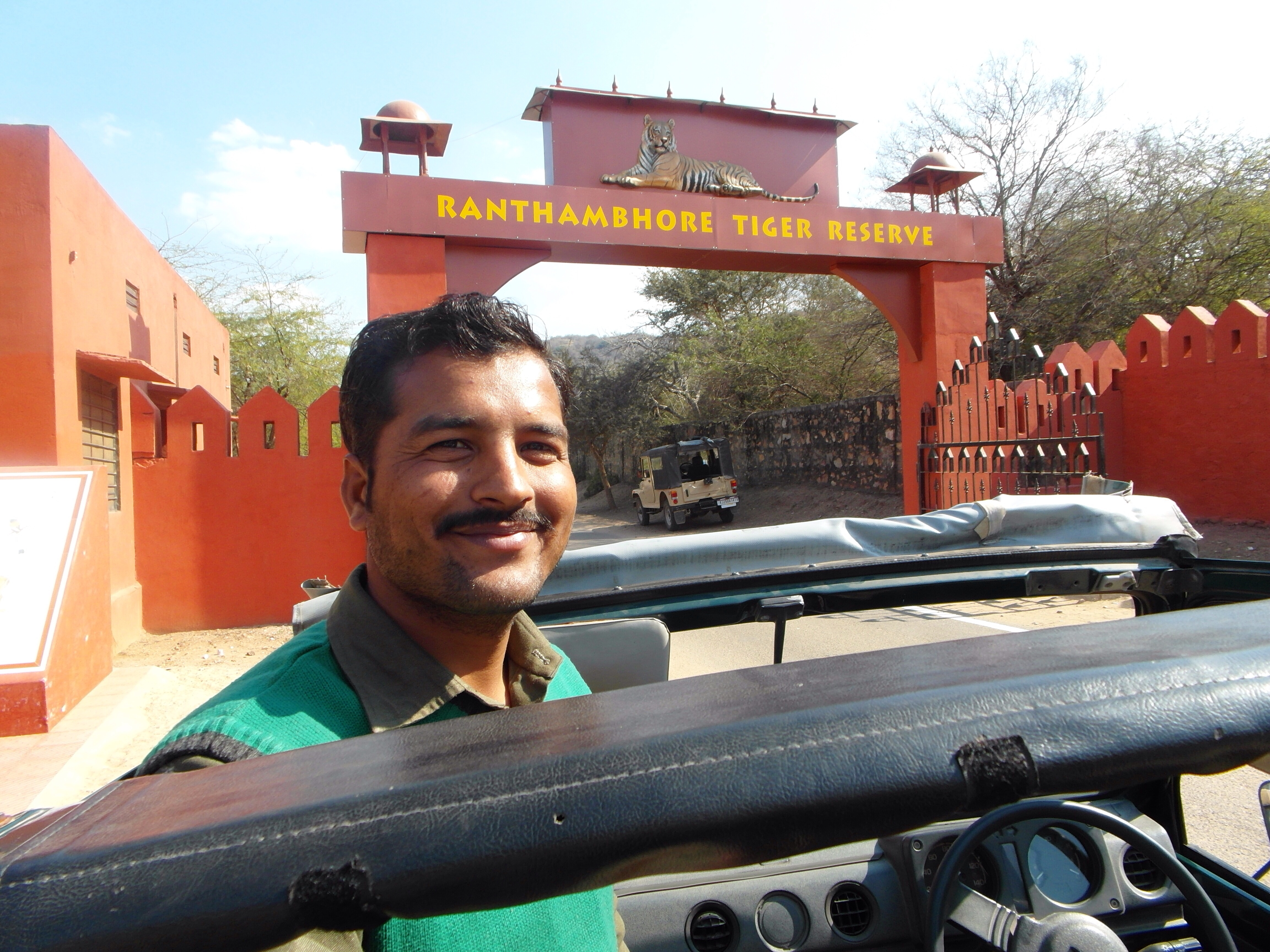 Our guide Battielal at the entrance to Ranthambore Tiger Reserve