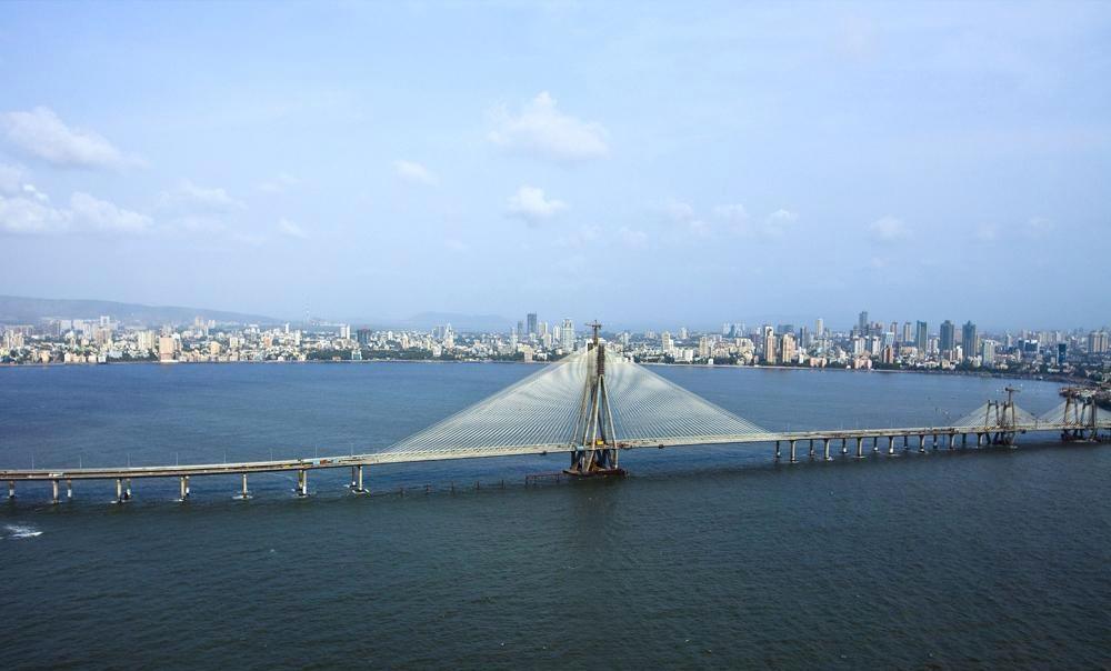 Rajiv Gandhi Sea Link and the skyline of Mumbai India