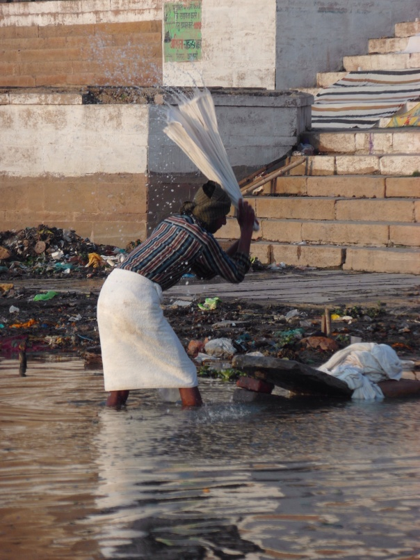 Clothes washer in the Ganges river